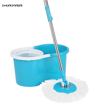 iKayaa DE Stock Rolling Magic Spin Mop & Bucket Set Press Type Rotating Easy-Wring Floor Mop W/ 2 Microfiber Mop Heads