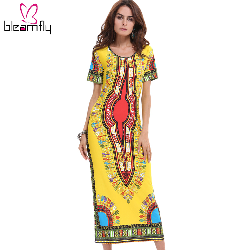 Womens Dashiki Dress Bodycon Sexy Long Robe Bohemian Vintage Jurken Indian Ethnic CLothing African Print dresses for Ladies(China)