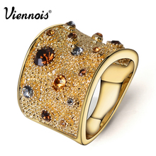 Viennois Wide Gold Color Finger Rings for Woman Multicoloured Rhinestones Paved Cocktail Ring Size 6 7 8 9 for Female(China)