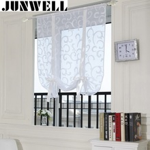 Junwell 2017 New Burn-out Roman Curtain Polyester Voile Kitchen Curtain Dinning Room Tulle Curtain Blind(China)