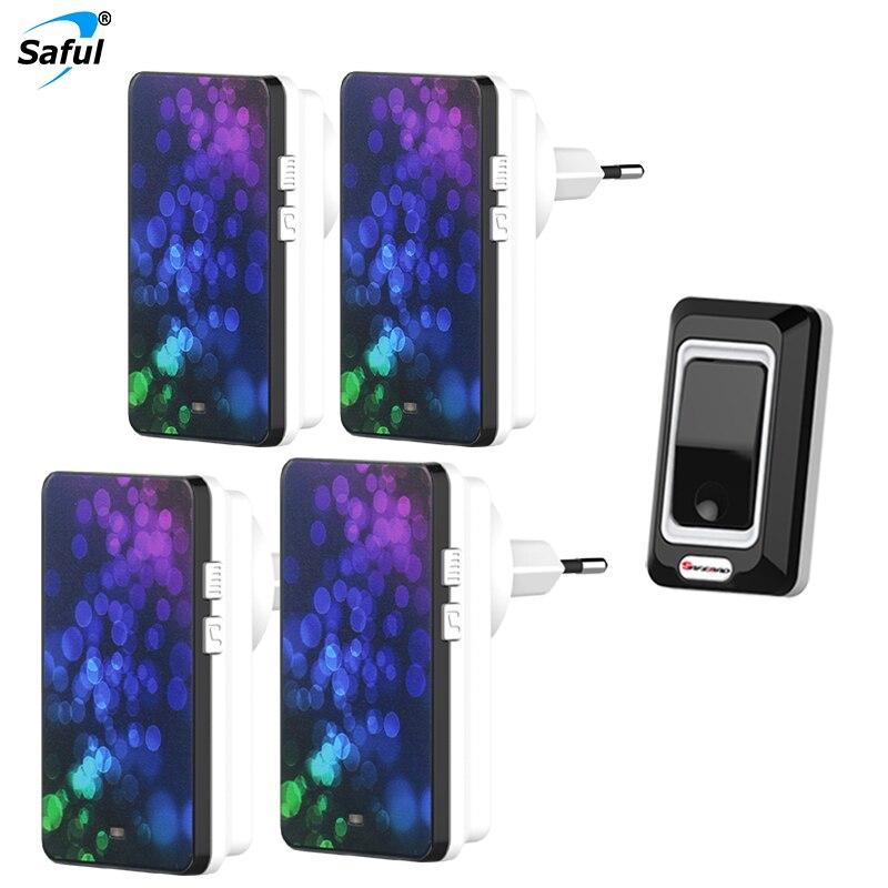 Saful Waterproof Wireless Doorbell 28 ring tones with 1 Outdoor Transmitters + 4 Indoor Doorbells Receiver EU/US/UK/AU Plug<br>