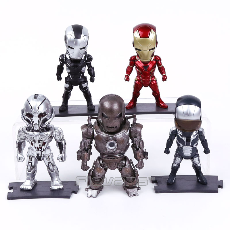 Iron Man Light &amp; Action Function Ultron Monger Battle Damaged War Machine Mark XL Mark XLVI Figures Toys 5pcs/set 10cm<br>