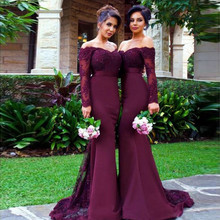 Vestido De Festa Longo Mermaid Lace Top Bodice Slim Line Long Bridesmaid Dresses Fast Shipping Charming Wedding Party Gowns