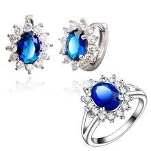 Yunkingdom Charm womens Jewelry Sets brand Hoop Earrings blue Cubic Zirconia Engagement Rings White Gold Color rings LPG3