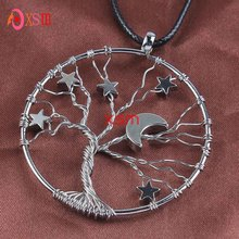 XSM Silver Plated Inlay Lucky Star Wisdom Tree Of Life Pendant Half Moon Necklace Fashion Jewelry