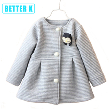 Autumn Winter Children Jackets Baby Little Penguin Single Breasted Child Coat Girl Outerwear Jackets For Girls Bow Girl Clothes(China)