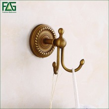 FLG New Design Customized Drawing Double Coat Robe Antique Bronze Brass Wall Mounted Hook For Clothes Bathroom Accessories 80101