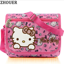 Hello Kitty Women Messenger Bags Young Lady Pretty Cartoon Bag Pink Nylon Crossbody Bag for Children Girls Birthday Gift TS641(China)