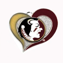 New Arrival rhodium plated Florida State Seminoles College sports team logo swirl heart charm Sport Jewelry Fans collection(China)
