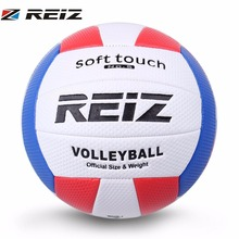 REIZ Soft Touch Volleyball Ball Training Competition Ball PU Leather Standard Size 5 Outdoor Indoor Volleyball Ball For Students(China)
