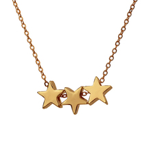 Hot Three Stars Necklace Best Wishes Triple Floating Noble Star Pendant Clavicle Chains Fashion Statement Lucky Necklace