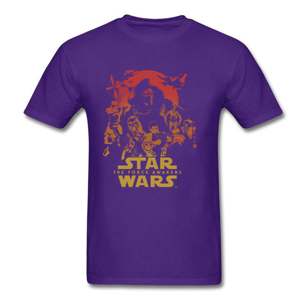 Force Awakens Poster Thanksgiving Day Pure Coon Crew Neck Tops Shirts Fashionable Tops Shirt New Coming T-shirts Force Awakens Poster purple