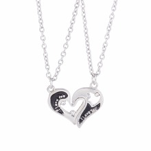 Sykesha 2018 Heart-shaped Rhinestone 2 Parts Necklace Set Couple Undivided Attention Attractive Enameled Long Sweater Necklace(China)