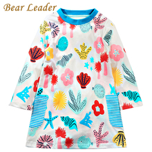 Bear Leader Girls Dress 2017 Brand Autumn Girls Clothes European and American Style Starfish Printing Design for Kids Dress
