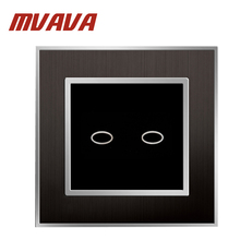 MVAVA 2 Gang 1 Way Light Switch And Lamp Pull Switch UK Standard Wall Touch Switch Satin Metal Panel Capacitive Touch Switch