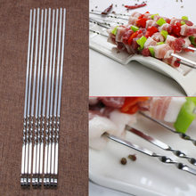 10 Pcs Stainless Steel Anti-skid Handle Hook Flat Meat Skewers For Outdoor BBQ Barbecue MAY19