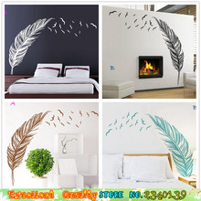 Hot Sale Feather Flying Birds Wall Sticker DIY Home Living Room Bedroom Wall Decoration Vinyl Mural Art Decals PVC Wall Stickers