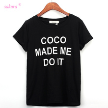 Women's COCO MADE ME DO IT Letters Printed Cotton T-shirts short sleeve t shirts Stretch Cotton tees Modal tops S/M/L(China)