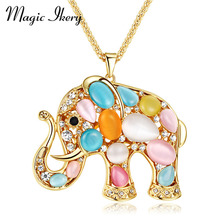 Magic Ikery Rose Gold Color Rhinestone Crystal Vintage Elephant long necklaces pendants Fashion Jewelry for women MK00023(China)