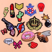 Sewing Clothes Gun Patch Iron On Embroidery Patches Hotfix Applique Motifs Sew On Garment Stickers Crown Bee Donut Bomb Cool New(China)