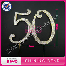 free shipping,Gold number 50 rhinestone cake topper, hot sale number 50 cake topper for anniversary party,10pieces/lot