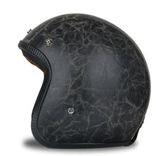Black Adult Open Face Half Leather Helmet Harley Moto Motorcycle Helmet vintage Motorcycle Motorbike Vespa(China)