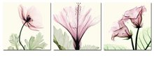BANMU Abstract Paintings Giclee Canvas Prints Framed Light Pink Flowers Artwork for Home Decor 3 panels Wall Decorations