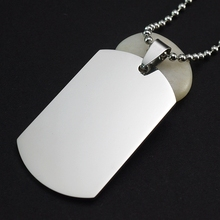 10PCS/Lot Men's Military Army Matte Silver Mirror Effect Stainless Steel Blank Dog Tag Necklace Charm Pendant Chain 60cm Long(China)