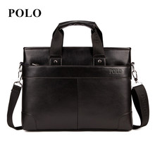 2016 POLO Men Casual Briefcase Business Shoulder Bag pu Leather Messenger Bags Computer Laptop Handbag Bag Men's Travel Bags