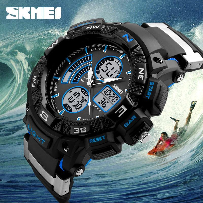 SKMEI Men s Large Dial 50M Waterproof Dual Display Wristwatches Students Outdoor Sports Multifunction Fashion Watches 2016<br>