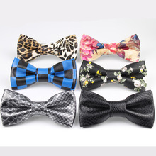 High Quality Classic PU pattern Leather Ties Butterfly Wedding Party Bowtie Black Flower Brown Plush Noble Bow Tie(China)