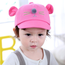 Baby Hats 2017 New Spring Autumn Baby Cartoon Ear Ball Baseball Caps Infant Boys Girls Children Fashion Casual Hats Kids Caps