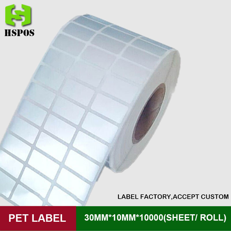 Silver PET label 30*10mm 10000pcs one roll three row self adhesive logo stickers labels waterproof high temperature resistant<br>