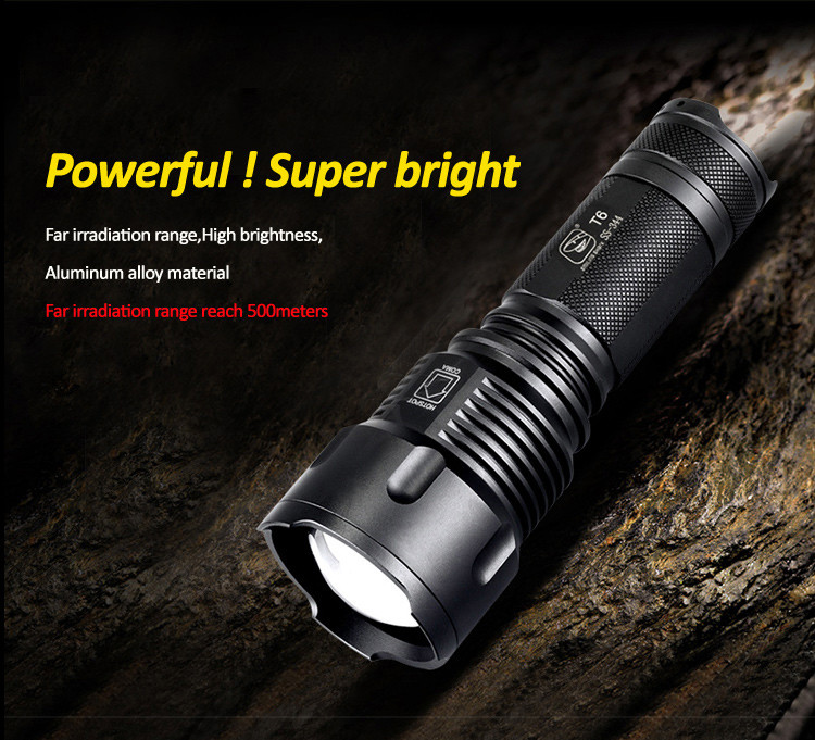 Tactical Torch 1000 Lumen Powerful T6 LED Zoomable Flashlight<br><br>Aliexpress