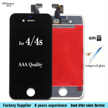For Iphone 4s 5C 6 6s 7 plus LCD Display Touch Screen Front Glass Digitizer Glass assembly with tempered glass(China)