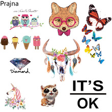 Prajna Custom Owl Unicorn Patch Thermal Iron On Transfer Sticker Vinyl Hot Heat Transfers For Clothes T shirt Fabric Applique(China)