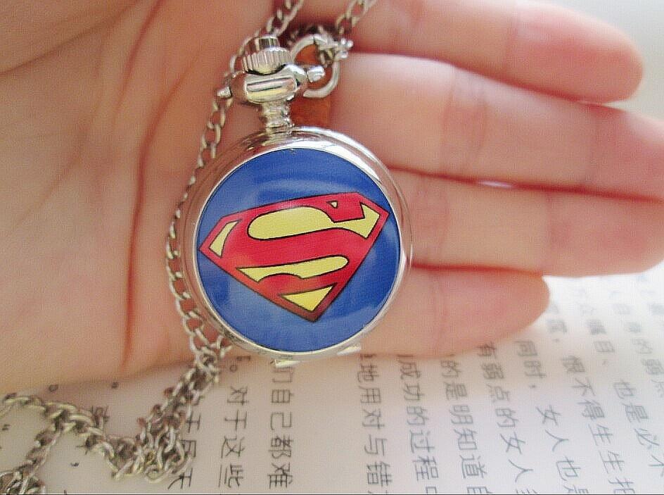 New superman Cartoon Children Pocket Watch Fashion delicate Pendants boy necklace Pocket Watch Quartz necklace pocket watch<br><br>Aliexpress