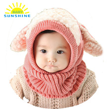 Winter Baby Hat And Scarf Joint With Dog Style Crochet Knitted Caps for Infant Boys Girls Children New Fashion Kids Neck Warmer