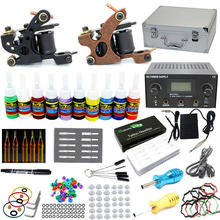 USA Dispatch NEW Complete Tattoo Kit 2 Machine Gun 10 Inks Needles Grips Tips LCD Power Supply Starter Set