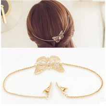 2017 Fashion Women Fashion Metal Leaf Butterfly Chain Headband Head Piece Hair Band Hair Accessory ts084