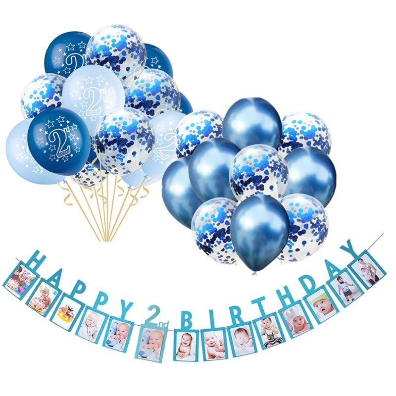 Rosa edad 1 Niñas feliz 1st Cumpleaños Pancarta Globos Confeti Decoraciones