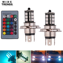 MIXC TRENDS 2PCS Wireless Remote RGB LED H4 Auto Car headlight 5050 SMD 27LED color changing Fog Light HeadLamp Bulb car styling