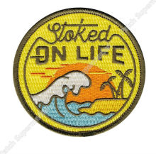 Stoked on Life Beach Bum Wave Rider Ocean Surf Travel Souvenir Patches Outdoor Clothing Iron On Badge for bag baseball cap