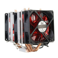 4 Copper Pipe Cooling Fan Red LED Three CPU Cooler Fan Aluminum Heatsink for Intel LGA775 / 1156/1155 AMD AM2 / AM2 + / AM3 ED(China)