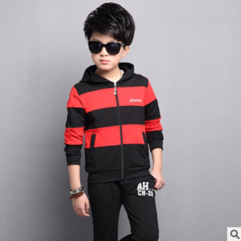 Boys Sports Clothing Set 2018 New Spring and Autumn Kids Clothes Sets Children Clothing Sets 2 Stripe Colors Size120-160 ly005<br>