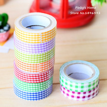 5pcs/lot Vintage Fabric Tape Pastoral Plaid Cloth Tape DIY Scrapbooking Decorative Sticky Box Packed Adhesive Masking Tape