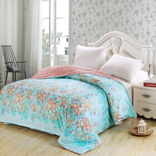 American style blue flower Adult duvet cover 100% cotton king queen full size simple plaid quilt case for bed new high quality(China)