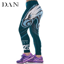 DANENJOY Women Rugby Seahawks 3D Prints Leggings High Waist Running Fitness Sport Football Yoga Pants Super Elastic Baseball(China)