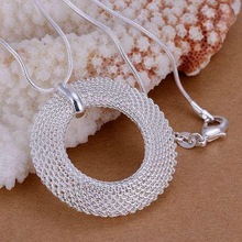 New special  silver plated  accessories women simple mesh circle necklace