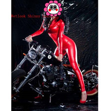 Buy Abbille 2017 Lady Sexy Leather Latex Zentai Catsuit Smooth Wetlook Jumpsuit Front Zipper Elastic Red Party Clubwear Playsuits